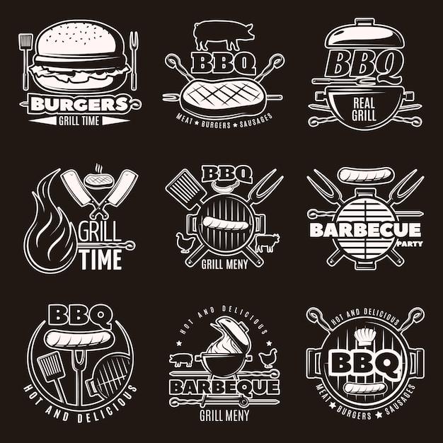 Monochromes barbecue-emblem-set Kostenlosen Vektoren