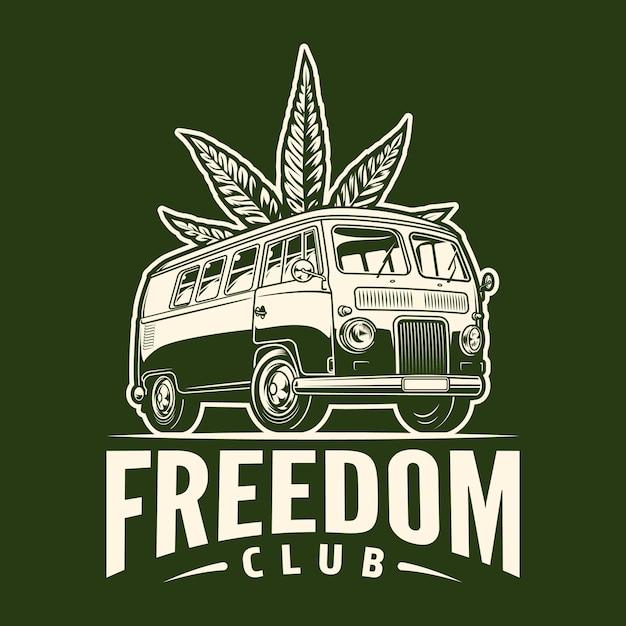 Monochromes cannabis-emblem Kostenlosen Vektoren