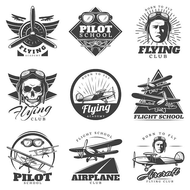 Monochromes flugzeug-logoset Kostenlosen Vektoren