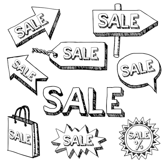 Monochromes kreatives realistisches plakat mit verschiedenen pfeilen und wortverkauf Kostenlosen Vektoren