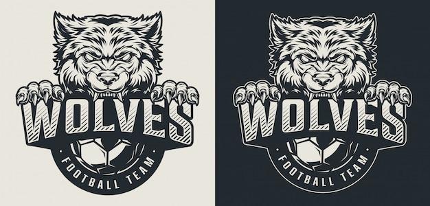 Monochromes logo der weinlesefußballmannschaft Kostenlosen Vektoren