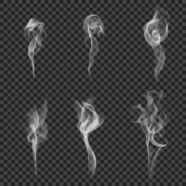 Monochromes realistisches rauch-set Kostenlosen Vektoren