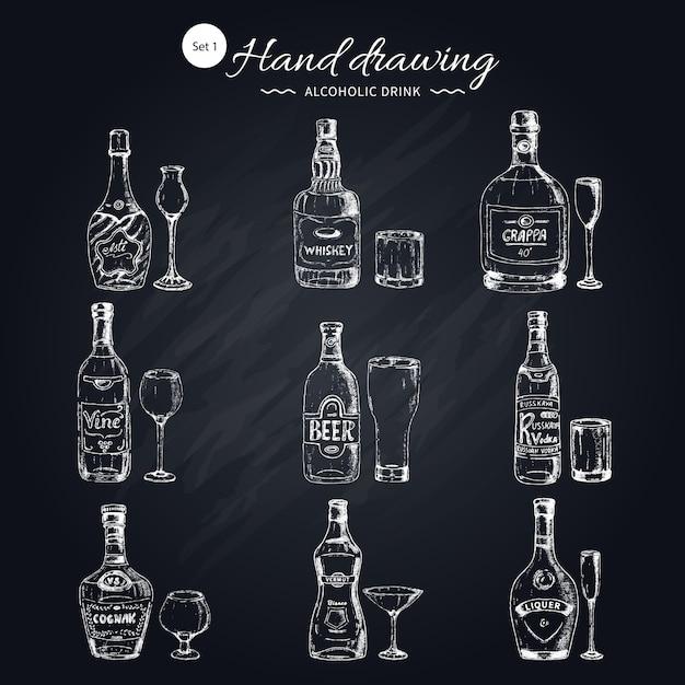 Monochromes set für alkoholische getränke Kostenlosen Vektoren