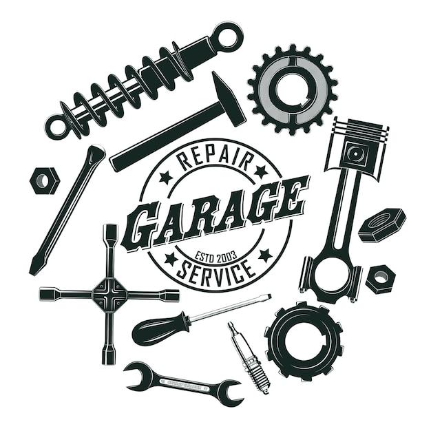 Monochromes vintage garagenwerkzeug-rundkonzept Kostenlosen Vektoren