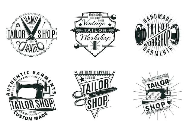 Monochromes vintage schneidergeschäft logos set Kostenlosen Vektoren