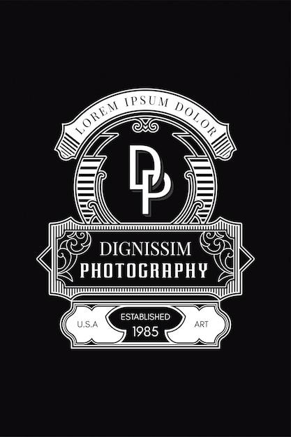 Monogramm-logo-fotografie dp Premium Vektoren