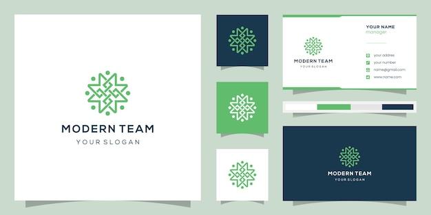 Monogramm m und design community, logos und visitenkarten. Premium Vektoren