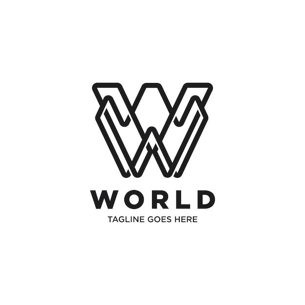 Monogramm monochrom buchstabe w logo vorlage Premium Vektoren
