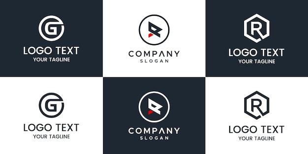 Monogramm-set-logo Premium Vektoren