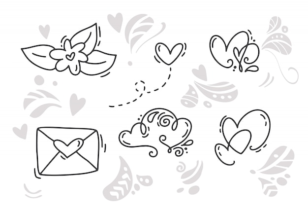 Monoline valentinstag handgezeichnete elemente Premium Vektoren