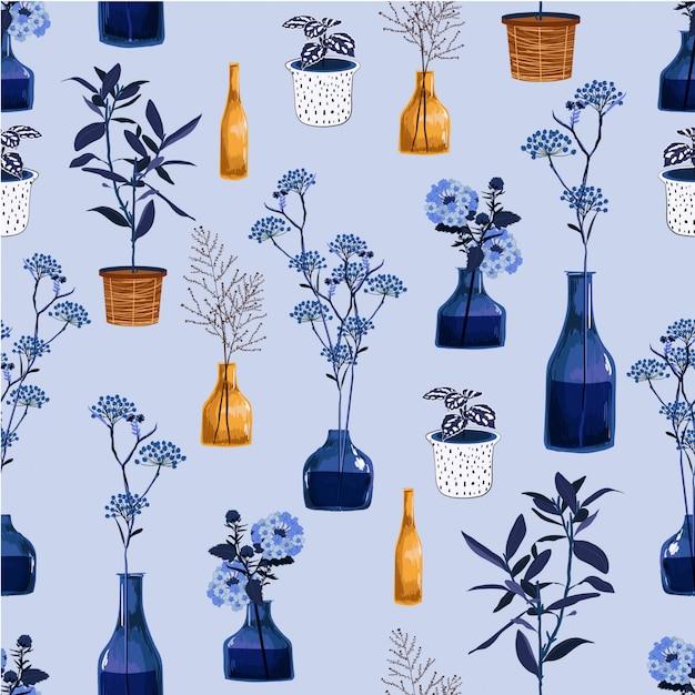 Monoton von modernen blumen und von vase, topf mit pflanzenillustration im nahtlosen musterdesign des vektors für fasion, gewebe, tapete und alle drucke Premium Vektoren