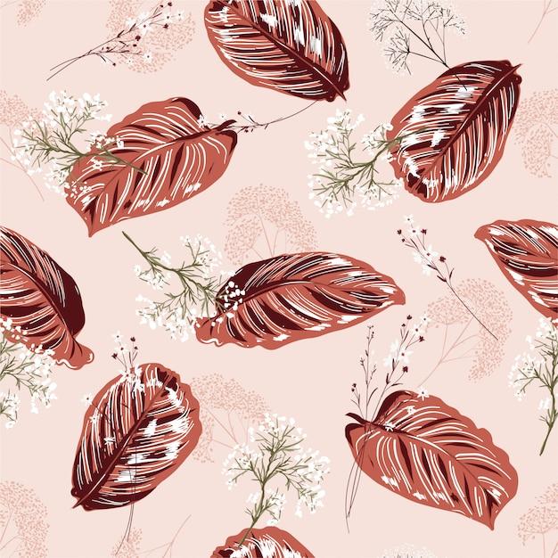 Monotone leichte rosa exotische blätter und nahtloses mit blumenmuster Premium Vektoren