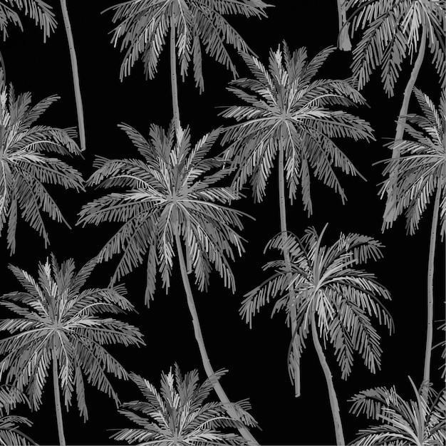 Monotones schwarzes und graues schattenbild des nahtlosen musters des botanischen vektors der palmen Premium Vektoren