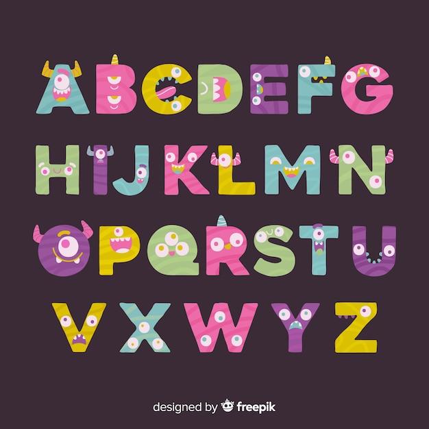 Monster alphabet Kostenlosen Vektoren