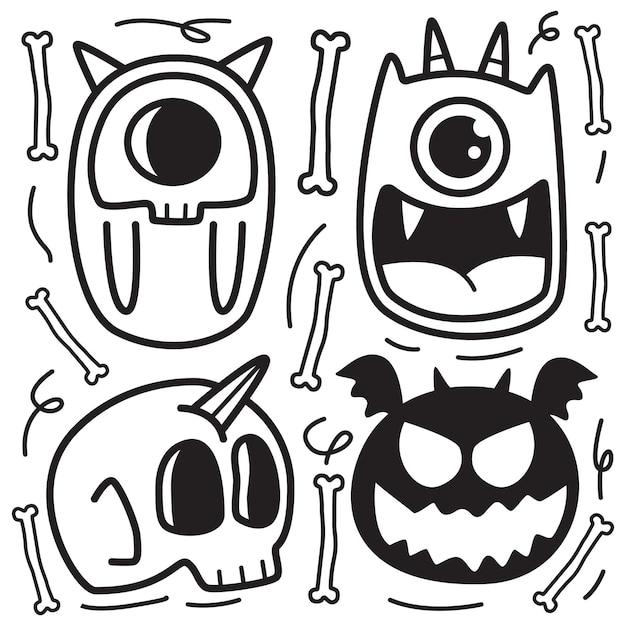 Monster cartoon gekritzel färbung design illustration Premium Vektoren
