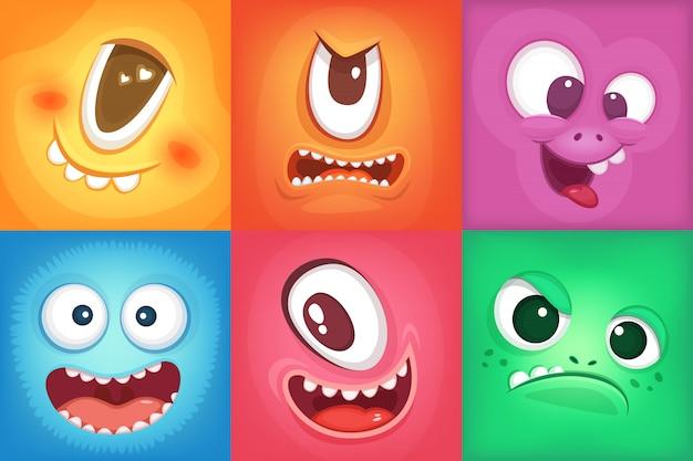 Monster cartoon gesichter. dämon lächelt und großer verrückter mund. vektormonster lustig, abbildung der farbe Premium Vektoren