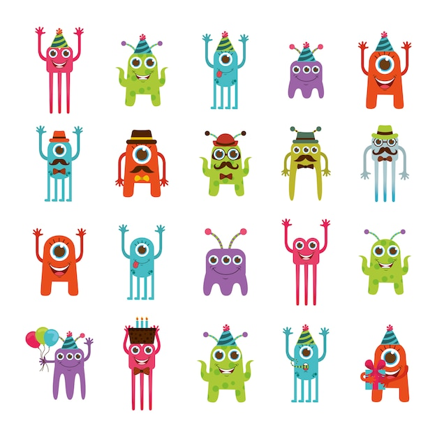 Monster cartoon-icon-set Kostenlosen Vektoren