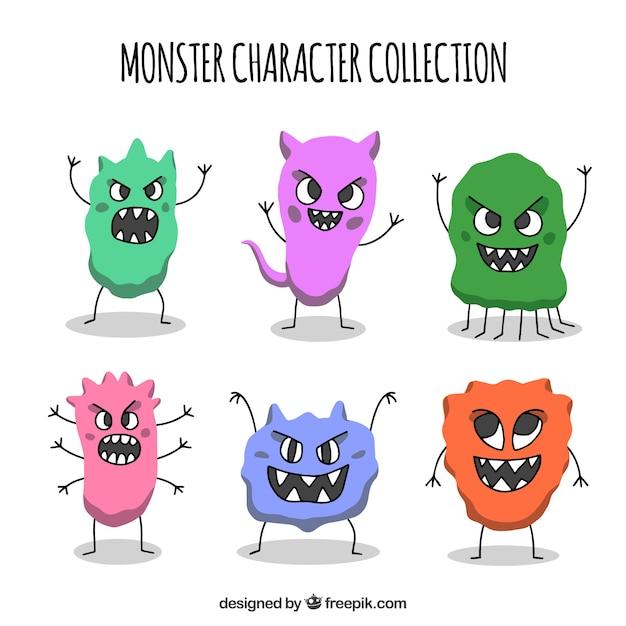 Monster charactersammlung mit lustigen gesichtern Kostenlosen Vektoren