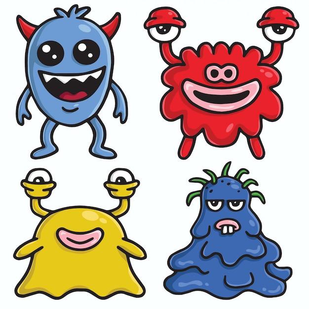 Monster-charakter-design-vektor-karikatur-satz Premium Vektoren