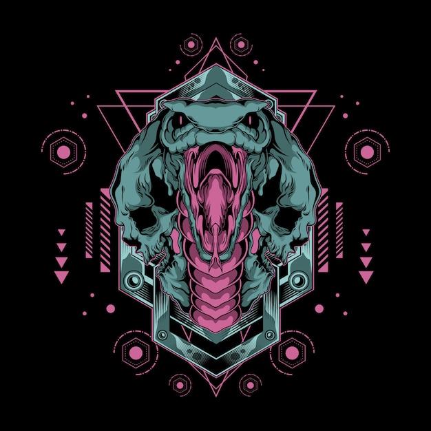 Monster cobra aus der hölle illustration mit heiliger geometrie Premium Vektoren