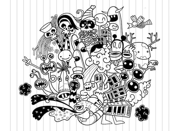 Monster doodle hintergrund Premium Vektoren