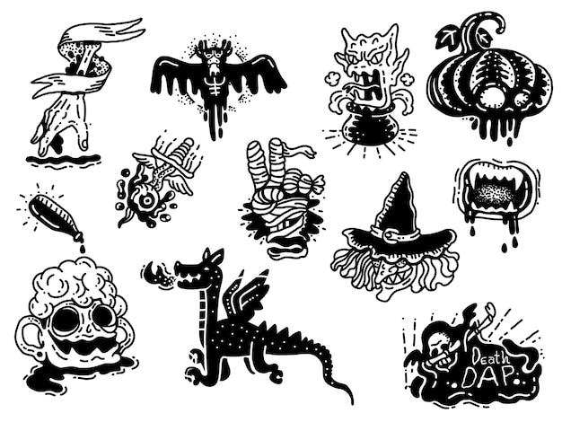 Monster gekritzel tattoo Premium Vektoren