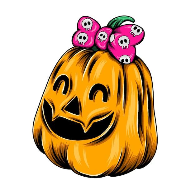 Monster gelbes kürbismädchen mit dem großen band im kopf für die geschenkinspiration Premium Vektoren