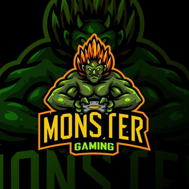 Monster maskottchen logo gaming esport illustration Premium Vektoren