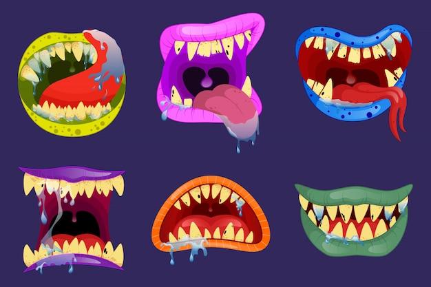 Monster münder. halloween beängstigende monsterzähne und zunge im mund nahaufnahme. lustiger gesichtsausdruck, offener mund mit zunge und sabber. Premium Vektoren