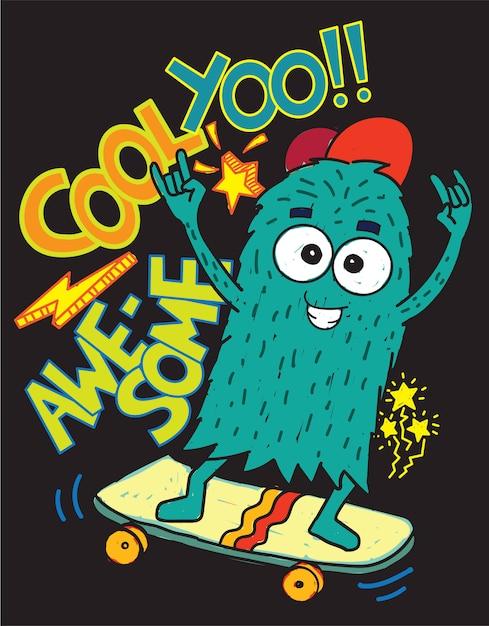 Monster-skateboardhand gezeichnet für t-shirt Premium Vektoren