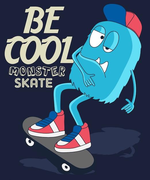 Monster skateboarding design Premium Vektoren