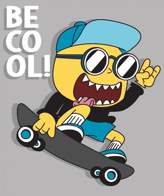 Monster skateboarding Premium Vektoren