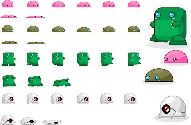 Monster spiel sprites Premium Vektoren