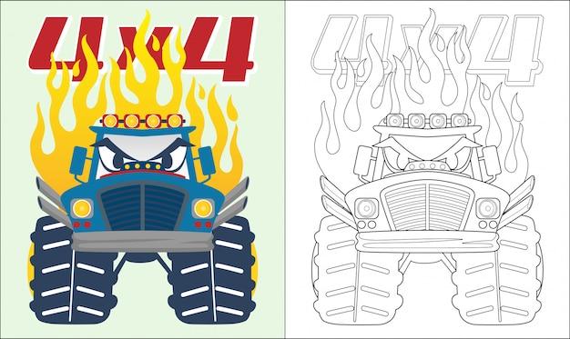 Monster truck cartoon mit flamme Premium Vektoren