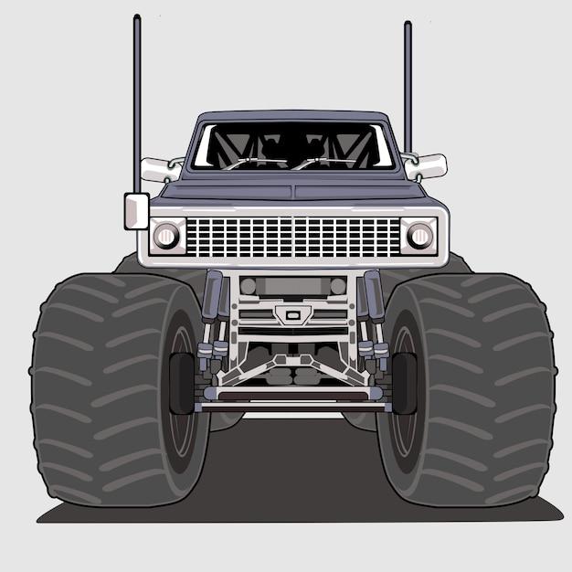 Monster truck großer fuß Premium Vektoren