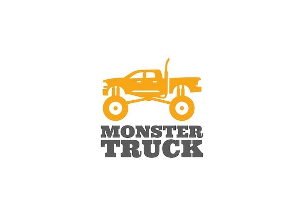 Monster truck logo isoliert auf weiß Premium Vektoren