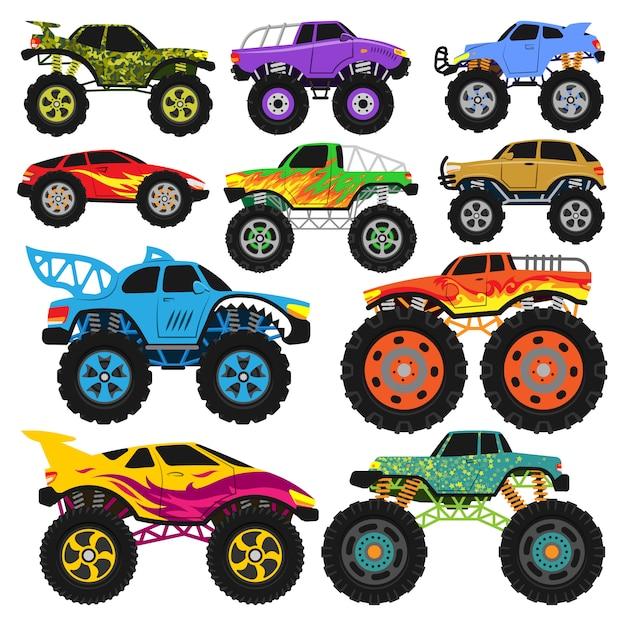 Monster truck vektor cartoon fahrzeug oder auto und extreme transport illustration satz von schweren monstertruck mit großen rädern isoliert auf weißem hintergrund Premium Vektoren