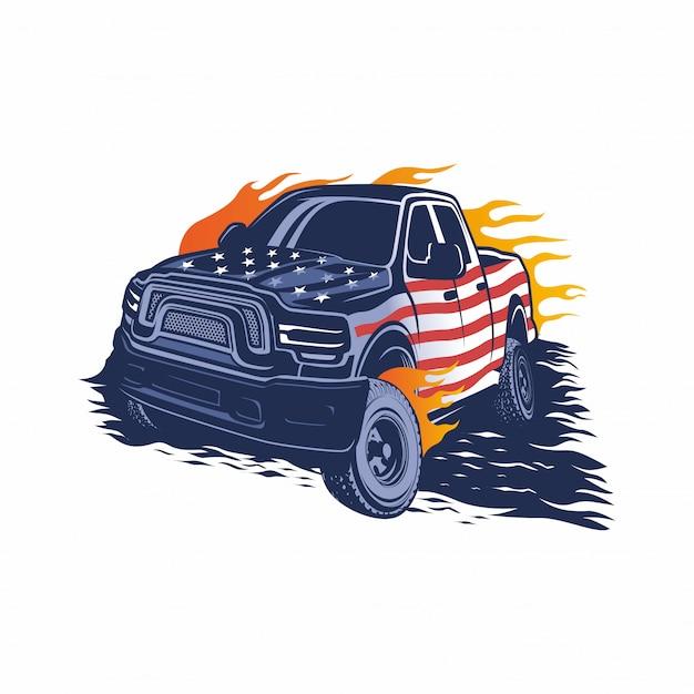 Monster truck-vektor-logo, vorlage, design-inspiration Premium Vektoren