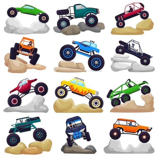 Monster-truck-vektorkarikaturfahrzeug oder -auto und extremer transport, die in felsen kriechen Premium Vektoren