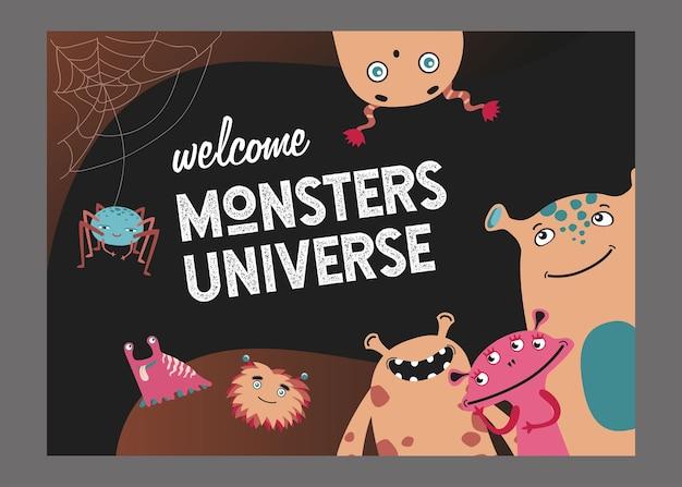 Monster universum seite cover design. nette lustige kreaturen oder tiervektorillustrationen mit text. show for kids-konzept für poster- oder website-hintergrundvorlage Kostenlosen Vektoren