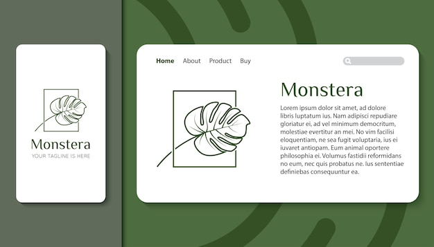 Monstera-blatt-logo für mobile app und landingpage-vorlage Premium Vektoren