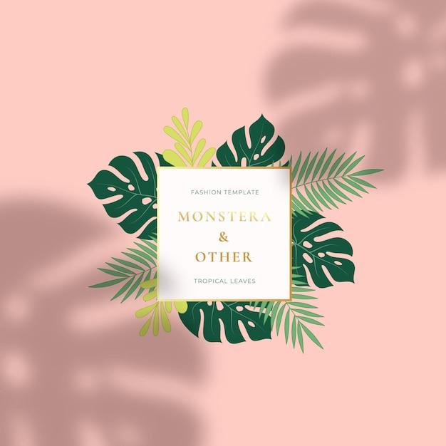 Monstera tropische blätter sommer zeichen oder logo Premium Vektoren