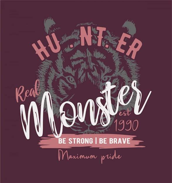 Monsterslogan auf tigerskizzenhintergrund Premium Vektoren