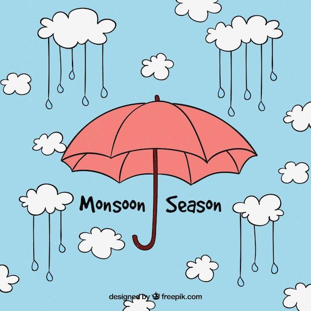 monsun hintergrund mit regenschirm  kostenlose vektor