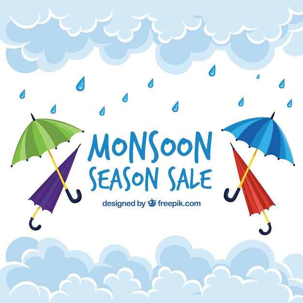 Monsun verkauf hintergrund mit sonnenschirmen Kostenlosen Vektoren