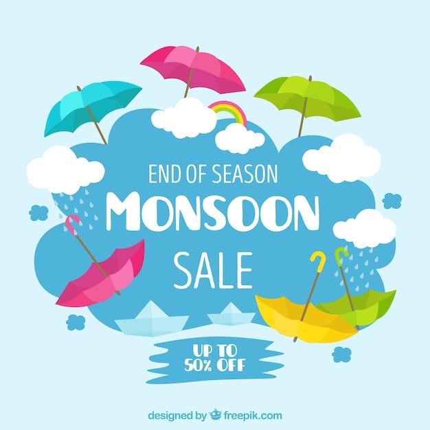 Monsunjahreszeit-verkaufshintergrund mit bunten regenschirmen Kostenlosen Vektoren