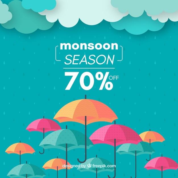Monsunjahreszeit-verkaufshintergrund mit regenschirmen Kostenlosen Vektoren