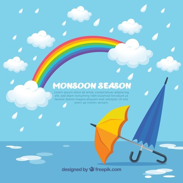 Monsunjahreszeithintergrund mit regenschirmen Kostenlosen Vektoren