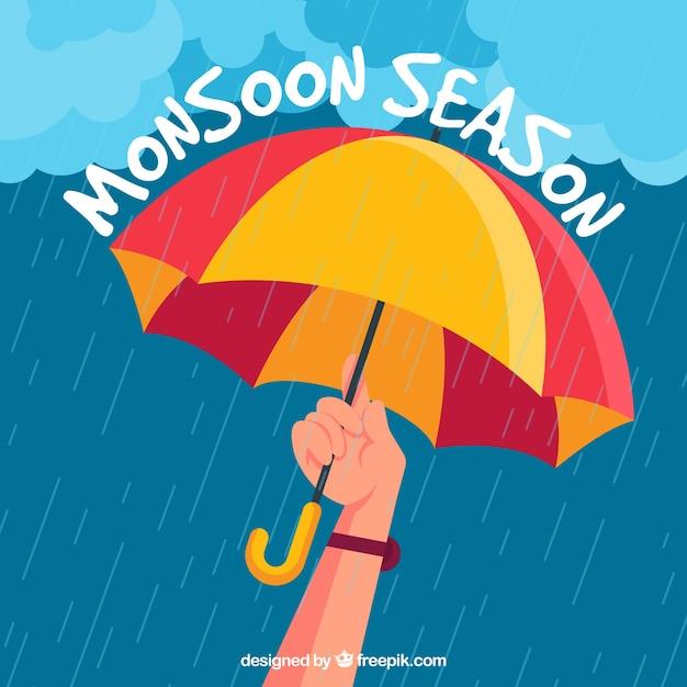 Monsunjahreszeitzusammensetzung mit flachem design Kostenlosen Vektoren