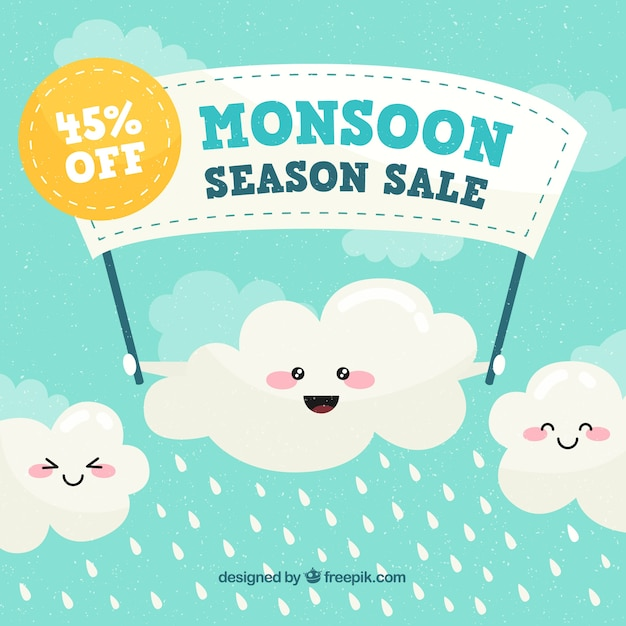 Monsunverkaufszusammensetzung mit flachem design Kostenlosen Vektoren